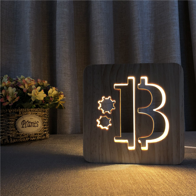 Bitcoin Shape Wooden 3D LED Lamp Hollowed-out Night Light Warm White Table USB Power Supply As Friend's Gift