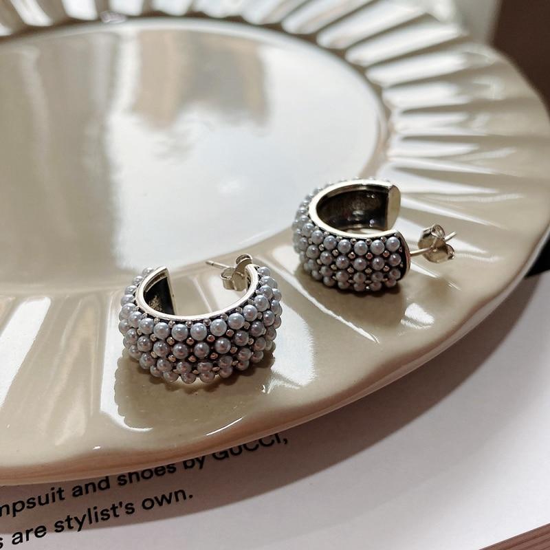 SUNIANGON Punk Multi-line Pearls Stud Earring 925 Sterling Silver Female Earring Wide Face Korean Women Vintage Earring Jewelry