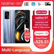 Orijinal Realme GT 5G akıllı telefon Snapdragon 888 120Hz 6.43