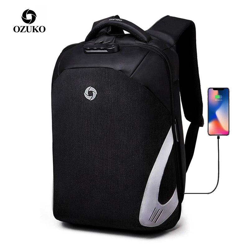 OZUKO marque hommes sac à dos étudiant collège étanche sac à dos Anti voleur pochette d'ordinateur sac à dos pour femmes mâle 2019 voyage Mochila