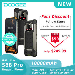 DOOGEE S88 Pro смартфон с 6-дюймовым дисплеем, восьмиядерным процессором Helio P70, ОЗУ 6 ГБ, ПЗУ 128 ГБ, 10000 мАч