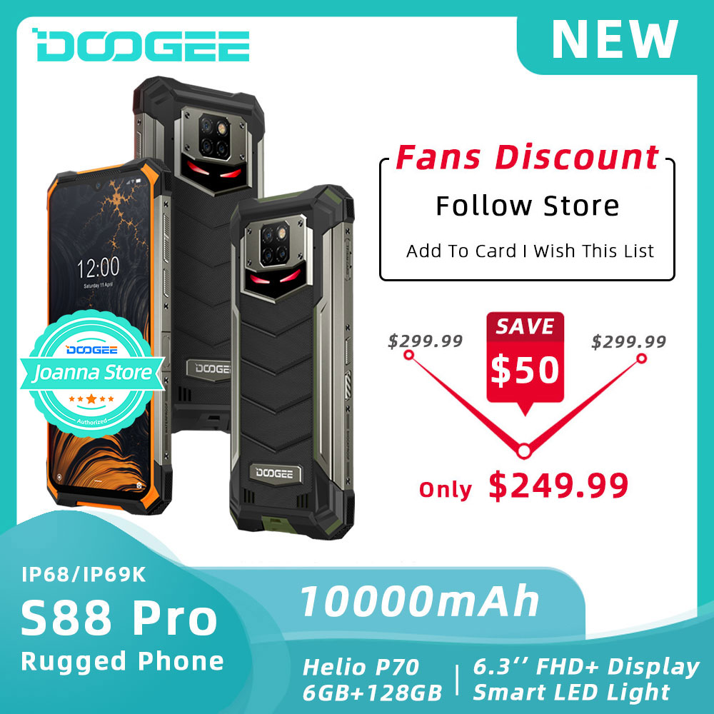 DOOGEE S88 Pro IP68/IP69K Rugged Phone <font><b>10000mAh</b></font> Battery Helio P70 Octa Core 6GB RAM 128GB ROM Android 10 Phone Mobile <font><b>SmartPhone</b></font> image