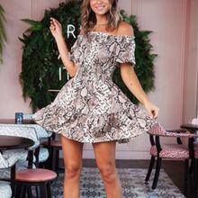 Vintage Snake Print Dress Short-sleeved Elastic Pleat High Waist Casual Women Sexy Summer Off Shoulder Slash Neck