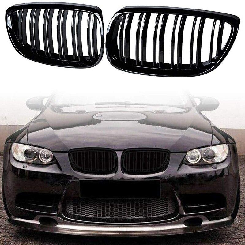 Otomobiller ve Motosikletler'ten Yarış Izgaraları'de 2 adet ön tampon e n e n e n e n e n e n e n e n e n e yüzgeçleri spor izgara izgara için BMW E92 E93 M3 2006 2009 için 13 3 serisi M3 (E92/E93) 07 10 E92 2D Coupe title=