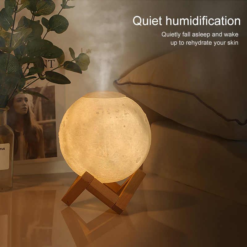 Luftbefeuchter Aroma Diffusor 880ML 3D Mond Lampe licht Mit 10mlEssential Öl USB Ultraschall Nacht Kühlen Nebel Reiniger für büro