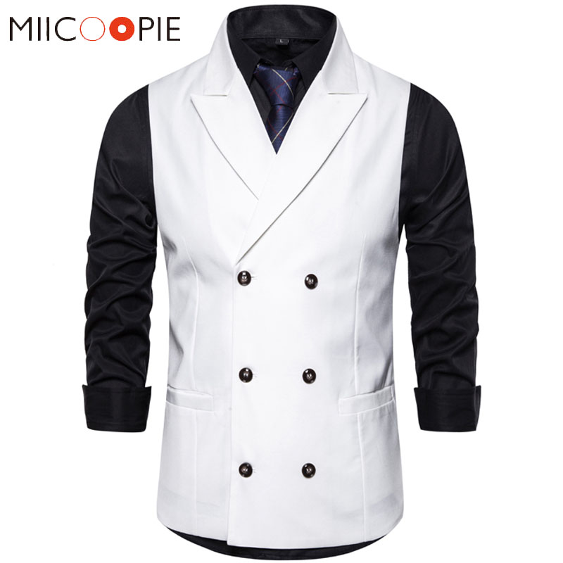 Dress Vest Waistcoat White Double-Breasted Tuxedo Classic Formal Casual Men Suit M-3XL