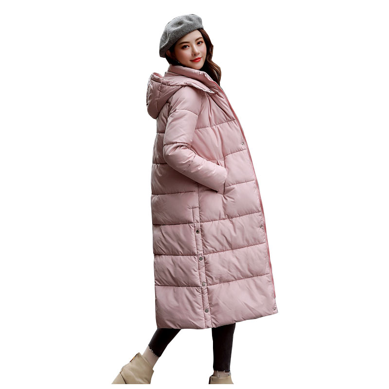 Chic Women Long Hooded Bakery Winter   Down     Coat   Heavy Jacket Oversize Thick Warm Cotton Padded Wadded Parkas Big Pocket