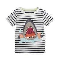 Little maven Shark Pattern Children's Clothing Kids Summer T-shirt for Boys Clothes Cotton short sleeve Clothing Boys T Shirt
