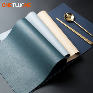 Image 1 - Leather Placemats Washable Table Mat Tablemats Stain Resistant Dining Disc Bowl Pad Coaster Non slip Decoration Table Mat