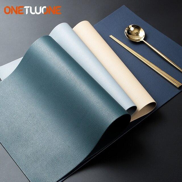 Leder Tischsets Waschbar Tisch Matte Tablemats Fleck Beständig Esszimmer Disc Schüssel Pad Coaster Nicht slip Dekoration Tisch Matte