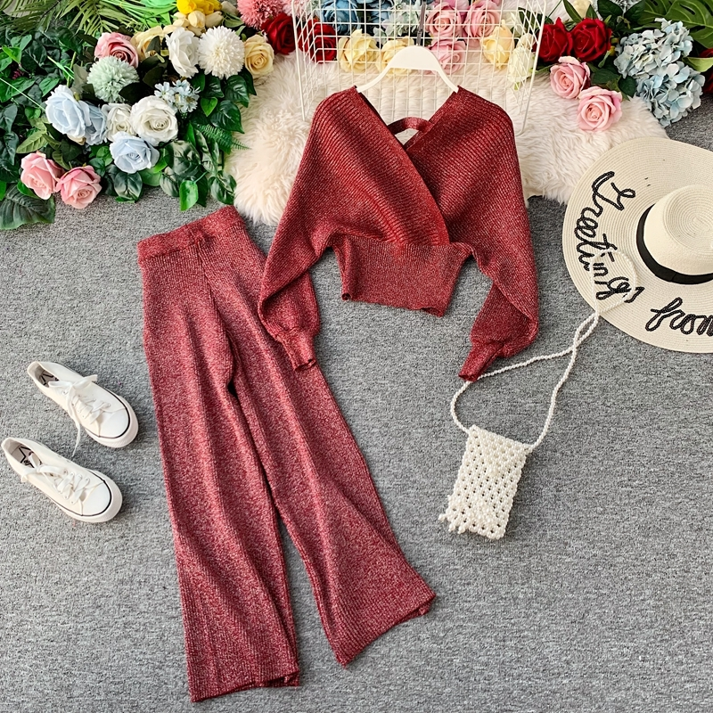 Women V Neck Batwing Sleeve Shining Knit Short Style Jumper Tops Sweaters+Wide Leg Pants Two Pieces Clothing Set