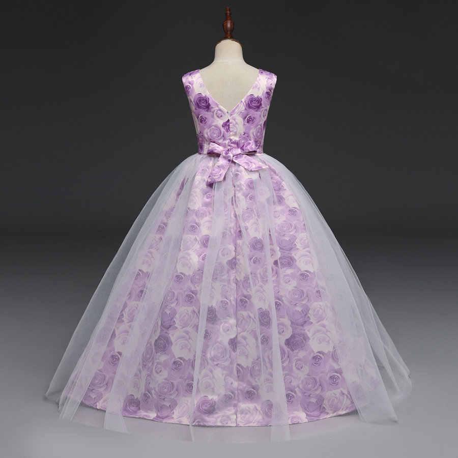 Luxo aberto para trás profundo v imprimir flor soiree e concurso vestido meninas 7-15 anos lavanda tule noite e tapete vermelho vestidos adolescente