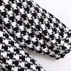 Image 5 - Vintage stylowa ponadgabarytowa kurtka Houndstooth płaszcz kobiety 2020 modne etui postrzępione boczne otwory wentylacyjne luźna w kratę odzież wierzchnia eleganckie koszule