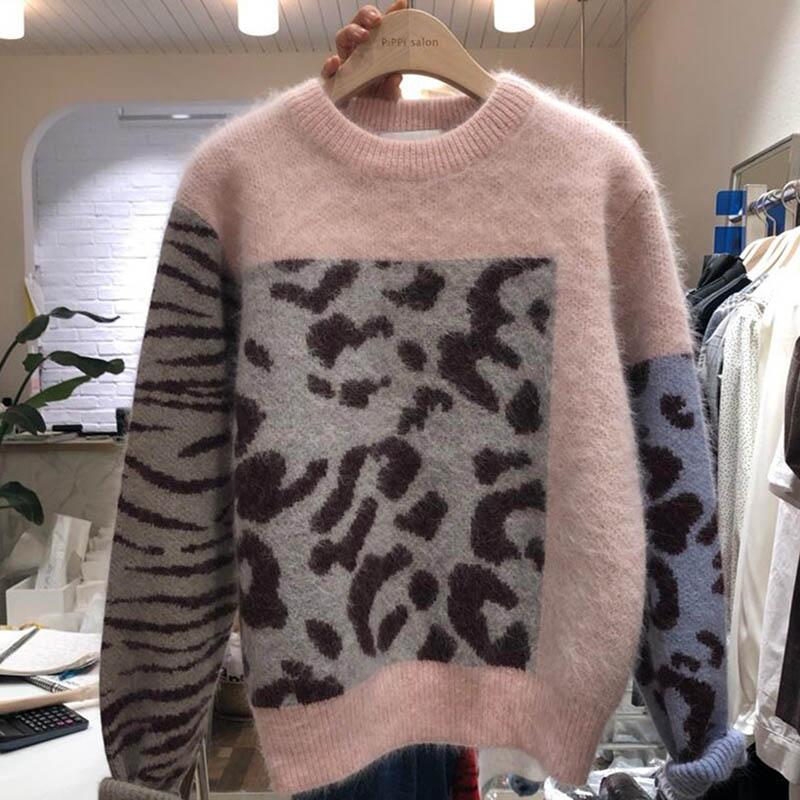 Leopard Zebra Sweater Women Mink Cashmere Hairy Knitted Winter Jumper Korean Oversized Pullover Loose O-Neck Sweater Patchwork