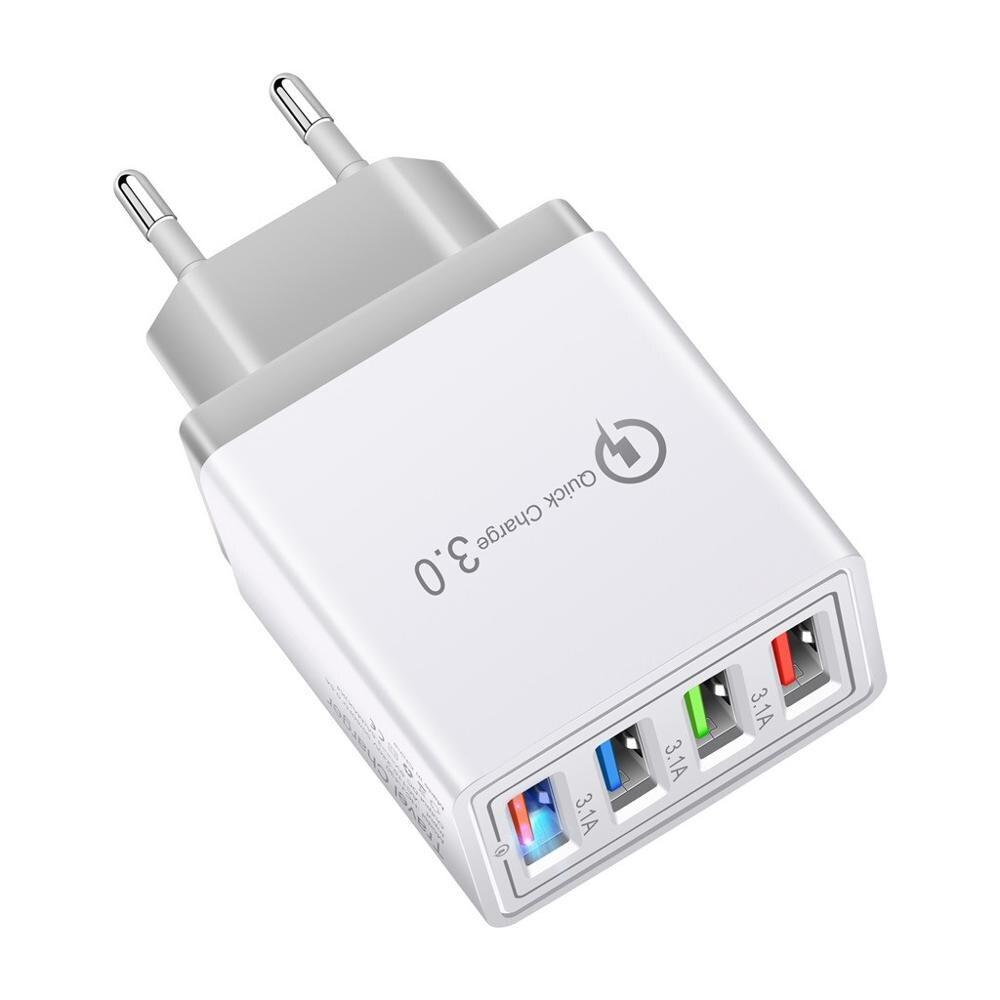 4 порта Быстрая зарядка QC 3,0 usb-хаб настенное зарядное устройство А адаптер питания с европейской вилкой