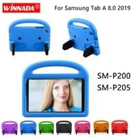 Bilgisayar ve Ofis'ten Tabletler ve e-Kitaplar Kutu'de Samsung SM P200 kılıfı çocuklar Tablet koruyucu kapak darbeye dayanıklı EVA köpük el tipi Stand kapak için Galaxy tab A 8.0 2019 P205