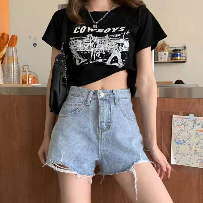 Шорты женские джинсовые с завышенной талией, уличная одежда с широкими штанинами, свободные короткие штаны из денима в Корейском стиле, лет...