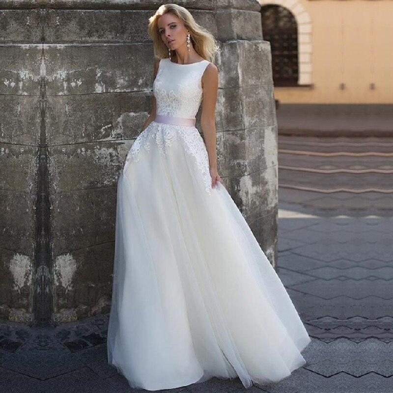 Scoop Neck Wedding Dress Robe De Mariee Mariage Lace Appliques With Belt Bride Dress Vinatge Tulle Bridal Gowns
