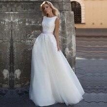 Scoop neck vestido de casamento 2020 robe mariee rendas apliques com cinto vinatge tule vestidos de noiva