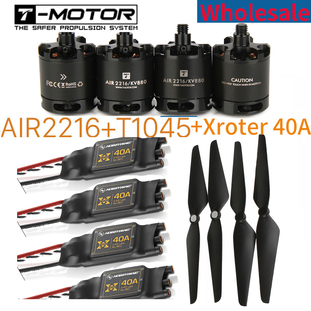 Wholesale T-motor Air Gear 450 4PCS 2216 AIR2216 KV880 Motor 2Pair T1045 1045 Props 4PCS X-rotor 40A ESC for New Beginner