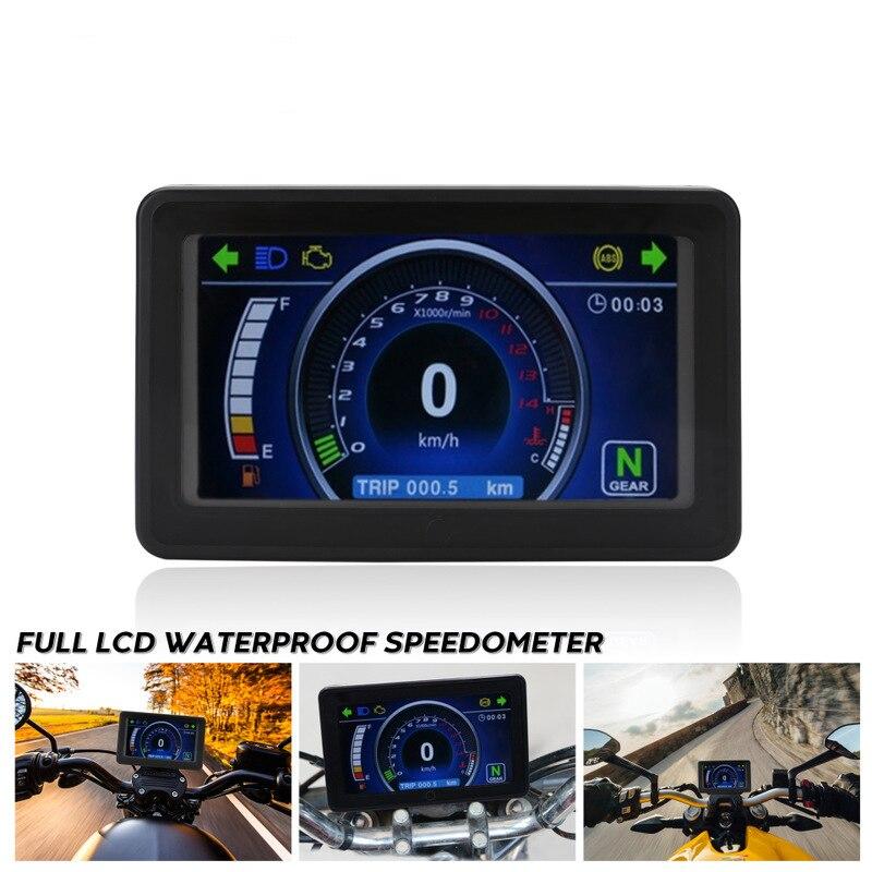 Motorcycle Speedometer Tachometer Odometer Signal Indicator Multi-Function Waterproof LCD Digital Meter Motorcycle Instrument