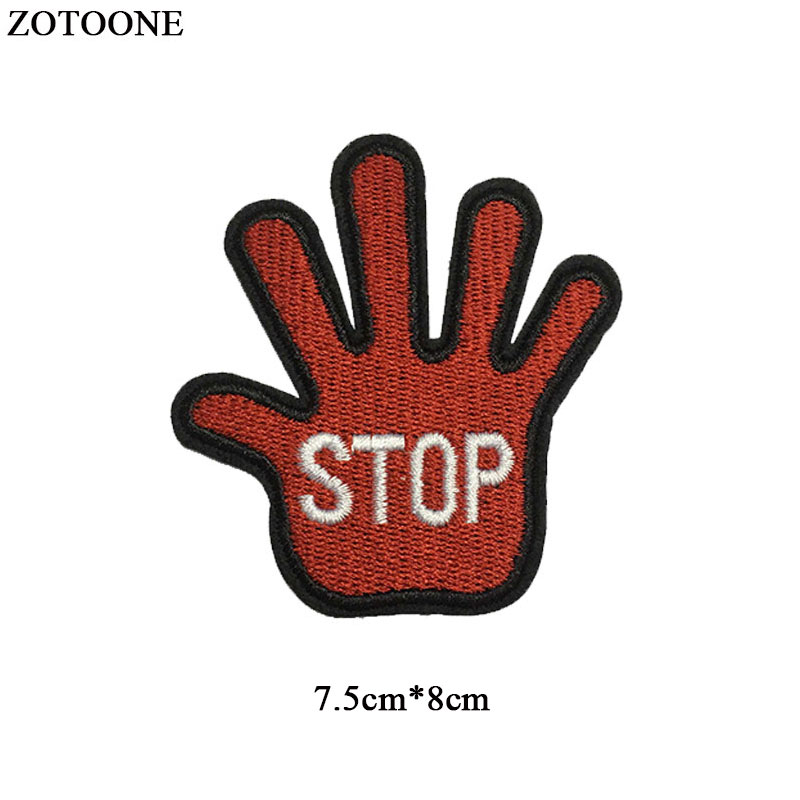 ZOTOONE Hand Patch for Clothing Gesture Badge Patches Iron on Heat Transfer Diy Applique Embroidered Applications Fabric G in Patches from Home Garden