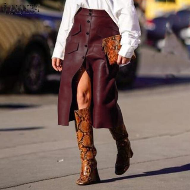 Stylish Button Skirts Women's PU Leather Vestidos ZANZEA 2020 High Waist Split Pockets Midi Skirts Female Solid Robe Plus Size 4