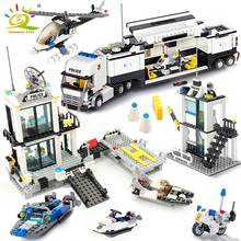 HUIQIBAO 536 Uds estación de policía, camiones de prisión, bloques de construcción, ciudad, coche, barco, helicóptero, policía, ladrillos, juguetes para niños, regalo para niños