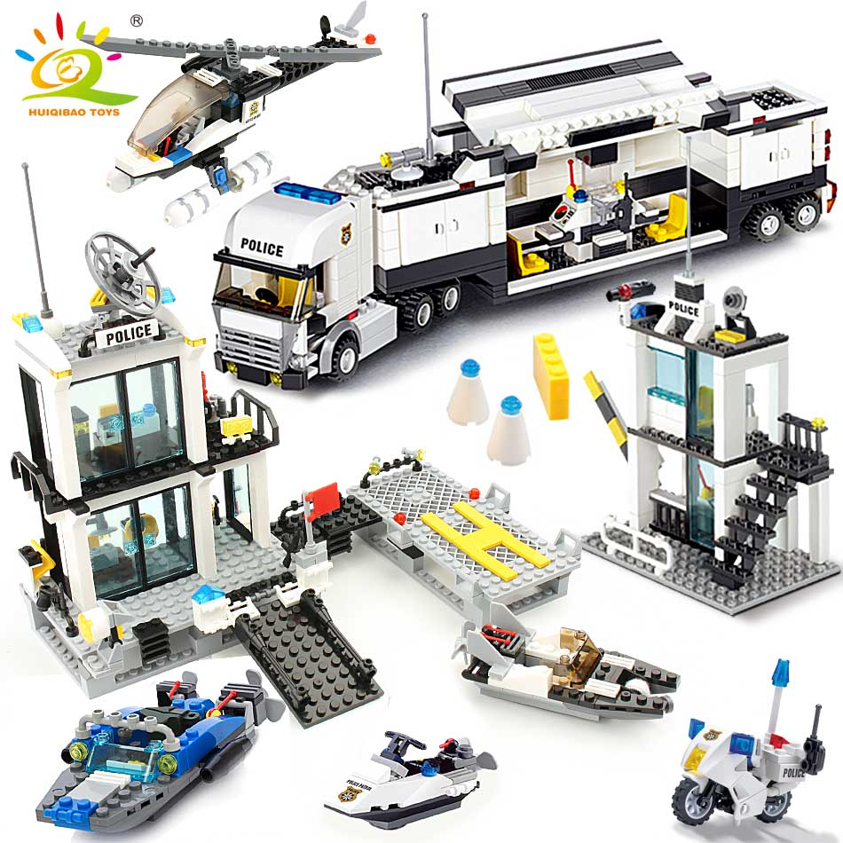HUIQIBAO 536pcs Police Station Prison Trucks Building Blocks City Car Boat Helicopter Policeman Bricks Children Toys KIDS GIFT