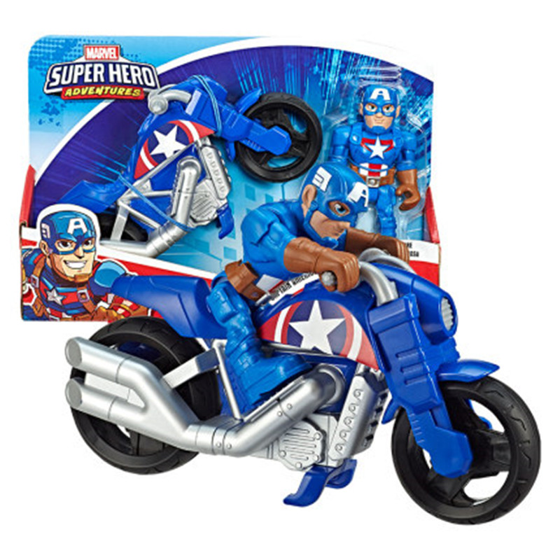 Disney The Avengers Superhero Captain America Spider-Man Motorcycle Set PVC Action Figure Collection Model Toy Boy Gift M4851 image