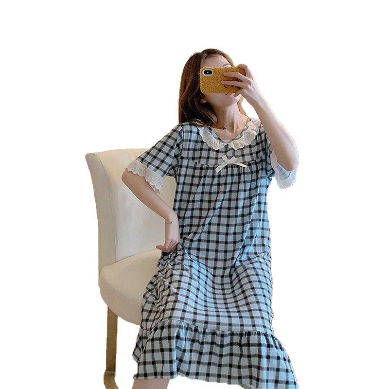 Summer   sleepshirts   women sweet square lattice sleepwear lace medium length style night dress lady O-neck