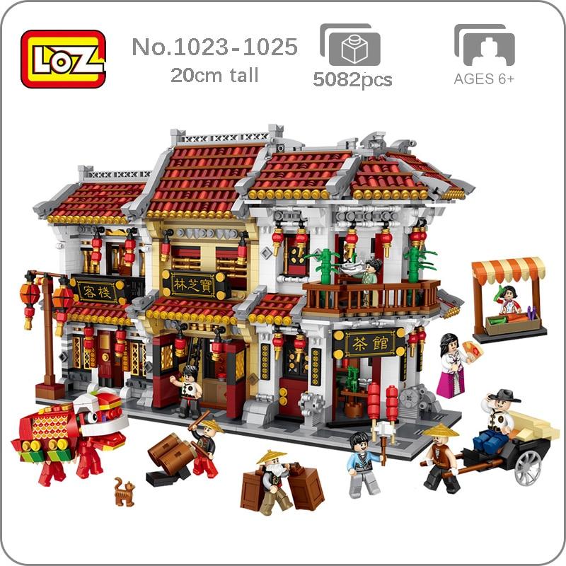 LOZ City, Древняя улица, чайный домик, таверна, аптека, отель, 3D модель, сделай сам, мини блоки, строительные игрушки для детей, подарок, без коробк...
