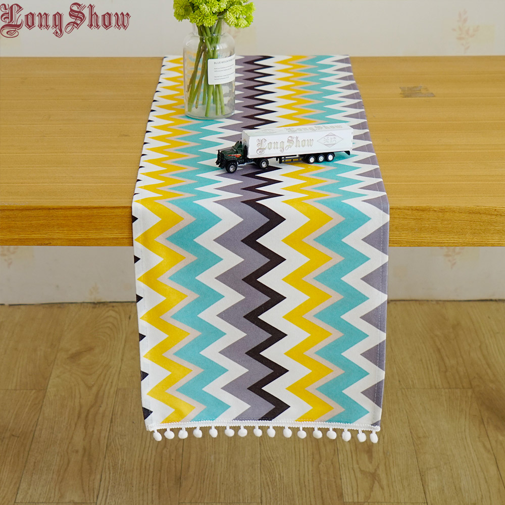 Lovely Home Decorative Unique Light Blue Geometric Waves Modern Style Table Runner With Braid Ball Lace