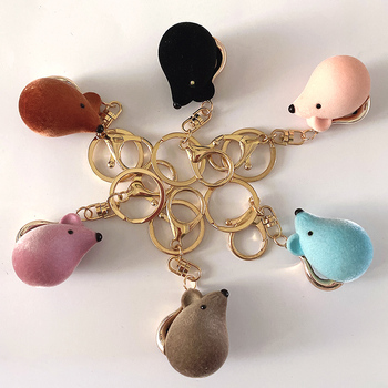 2020 flocking Mouse Keychain Cute Cartoon Birthday Gift Couple Car Backpack Jewelry Pendant accessories image