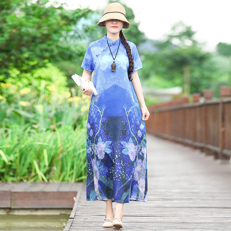 Sc2019 Stand Collar Frog Origional Ethnic-Style A Version Of Digital Printing Dress Chinese Style Improved Cheongsam Women's