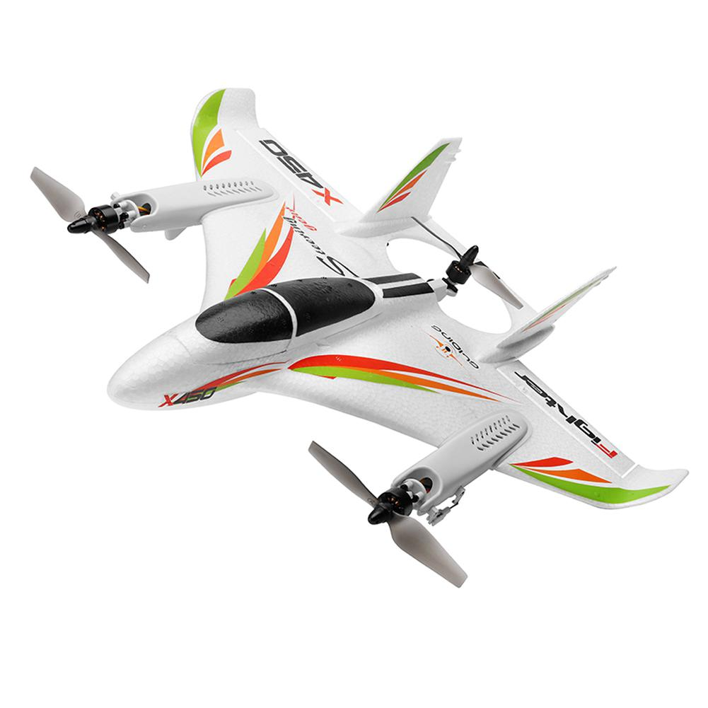WLtoys XK X450 2.4G 6CH 3D/6G RC Airplane Brushless Motor Vertical Take-off LED Light RC Glider Fixed Wing RC Plane Aircraft RTF