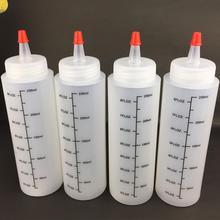 5 шт. 250 мл пластиковый игловой-nosed бутылка со шкалой Squeeze бутылка с герметичной крышкой Соус Бутылка для салата гибкий флакон