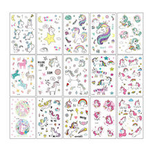 1Set Unicorn Cartoon Sticker Waterproof Temporary Tattoo Stickers Body Sticker Party Decoration Hand Account Decals DIY Handwork(China)