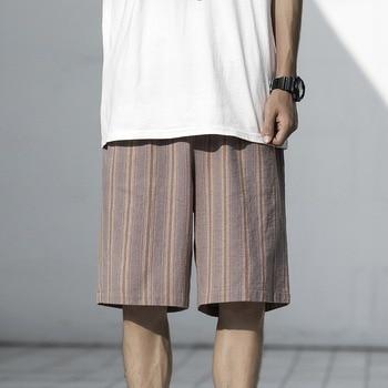 Casual Shorts Mens Shorts Striped Shorts Cotton and Linen Thin Summer Breathable Shorts Adjustable Waist Essentials Shorts