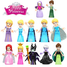 Juego de figuras Legoing Friends For Girl Elsa Ariel Anna Aurura juguetes para niños bloques compatibles para Legoings Friends Fille(China)