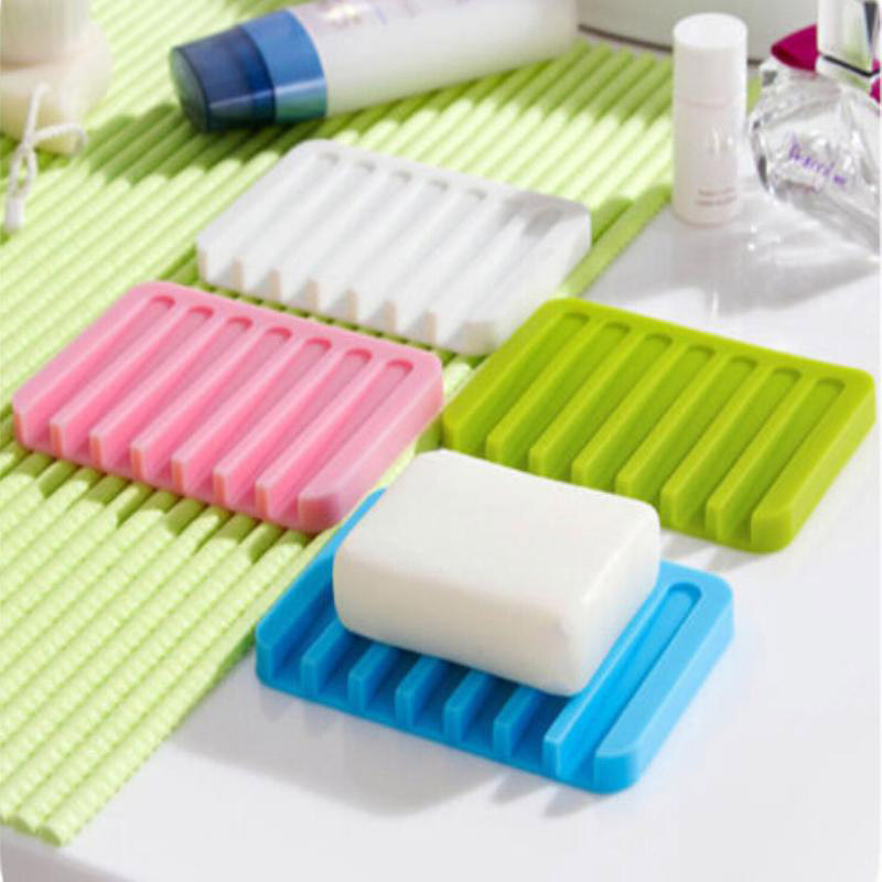 New Silicon Kitchen Bathroom Flexible Soap Dish Plate Holder Tray Soapbox 4 Colors Green Blue White Pink