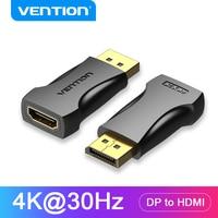 Vention adaptador de DP a HDMI-Puerto de pantalla macho a HDMI hembra, convertidor para PC, portátil, proyector, adaptador DisplayPort a HDMI, 4K30Hz