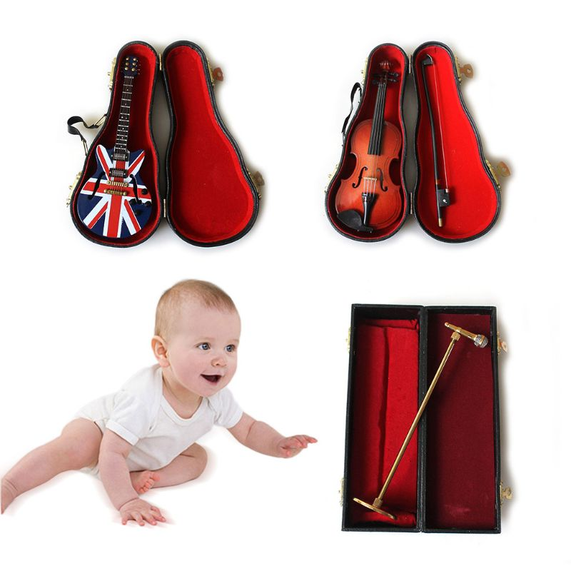 1Set Newborn Baby Photography Props Guitar Violin Microphone Musical Instruments D0AF
