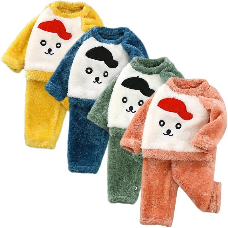 New Unisex Children Boy Warm Thick Fleece Cartoon Pyjamas Girl long sleeve Sleepwear Suit Kids Winter Flannel Homewear Sets