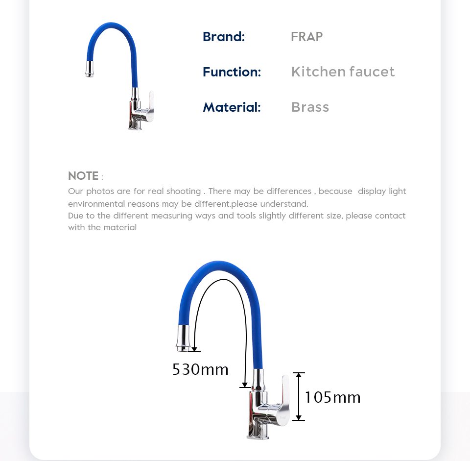 H93bc397c614a4e3a80e21f0335f61124B Frap Silica Gel Nose Any Direction Rotating Kitchen Faucet Cold and Hot Water Mixer Torneira Cozinha Single Handle Tap F4353