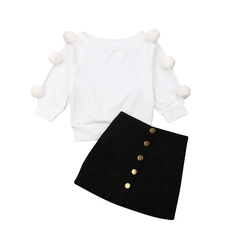 Hairball Knitting Tops+Button Mini Skirt Warm Outfits Sets 1-6T