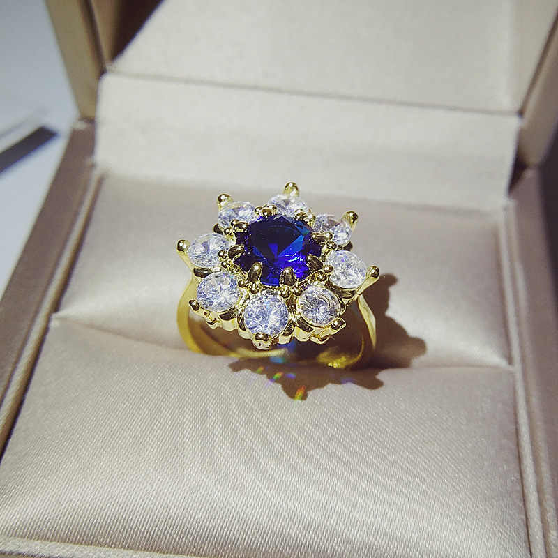 Nữ cao cấp Nữ Xanh Dương Nhẫn Đá Tròn Vintage Vàng Vàng Zircon Nhẫn Hứa Cưới Nhẫn Đính Hôn Cho Nữ