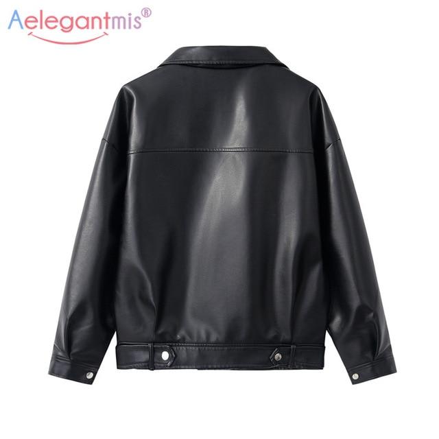 Aelegantmis – Veste en faux cuir pour femme, nouveauté, tenue de motard classique, manteau simple, grande taille, vêtement pour automne et hiver 2