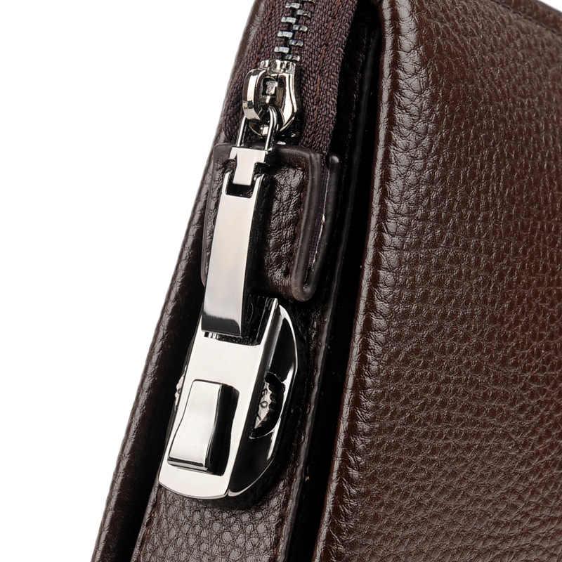 Männer Codiert Lock Tag Kupplung Anti-diebstahl Business Handtasche Männliche Große Kapazität Zipper Lange Brieftasche Telefon Fall Karten halter