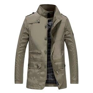 Image 2 - Classic Long Men Trench Coat For Summer Thin Male Casual Khaki Zipper 2019 Windbreaker Streetwear Outerwear Baggy Varsity Jacket